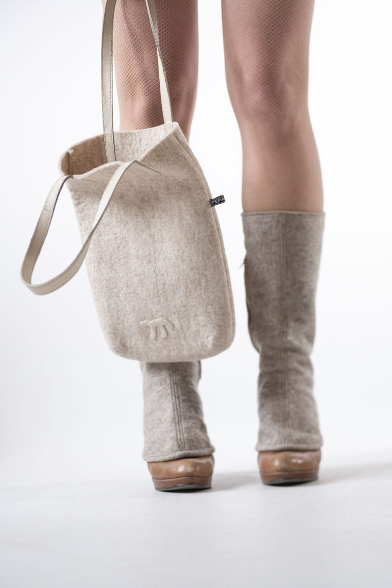 wool felt bags and gaiters