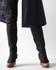 high gaiters with blueberry coat