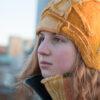art deco hat orange brown