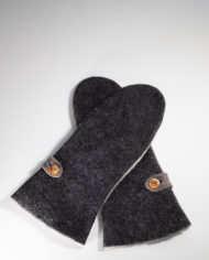 Long Mittens | black & blond natural wool felt