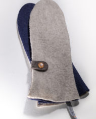 mittens ecru, navy-blue & brown