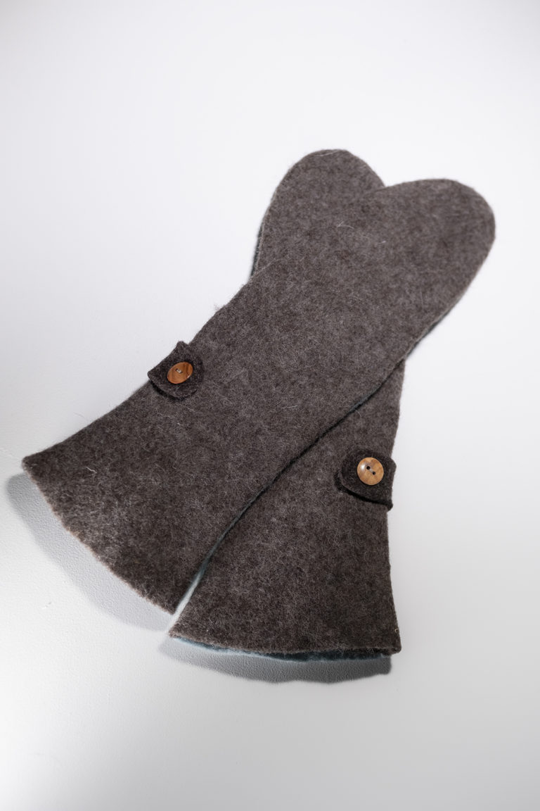 long mittens brown baby blue