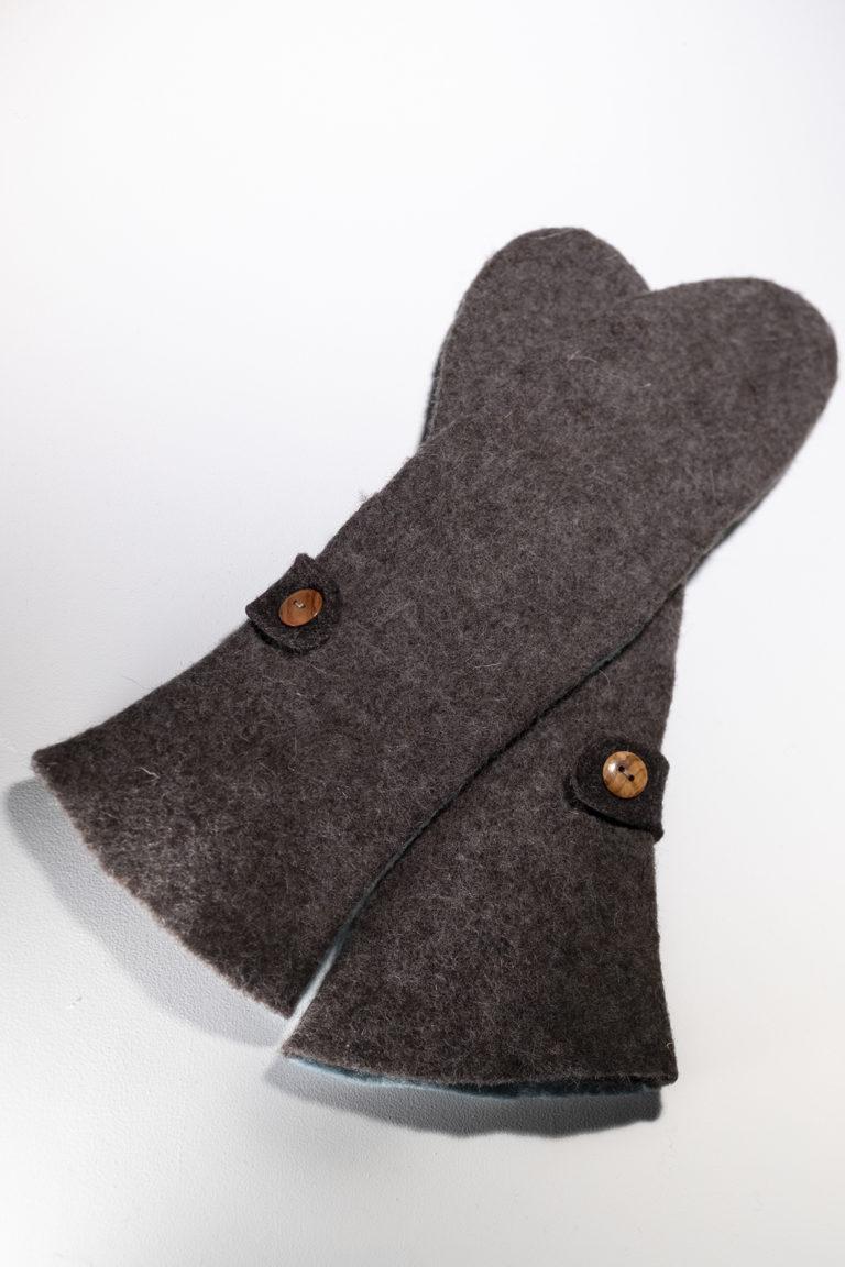 long mittens, brown