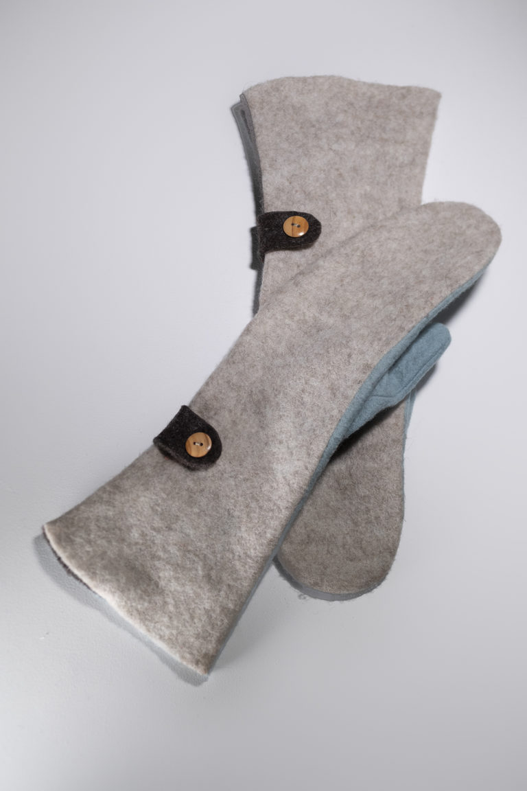 long mittens light brown baby blue