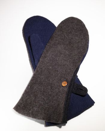 long mittens dark brown navy blue