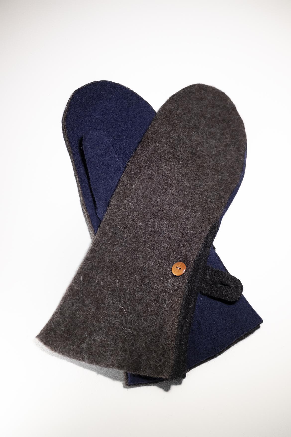 long mittens dark brown navy blue