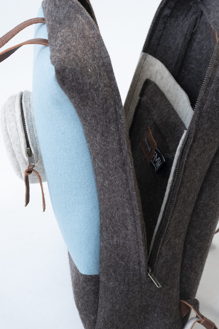 backpack brown blue blond