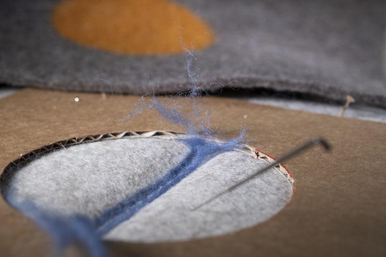 needle felting the artisan bags