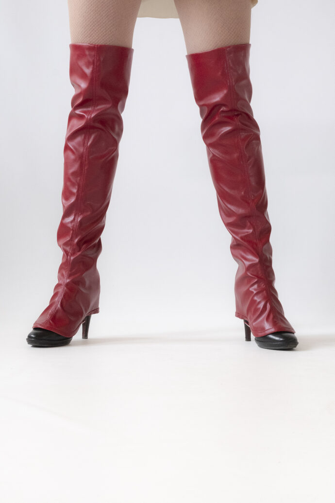 Over-the-knee Fake leather gaiters Red