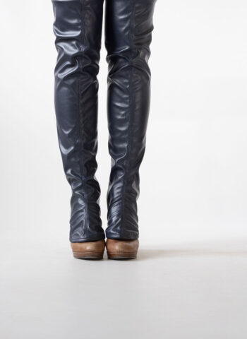 over-the-knee fake leather gaiters