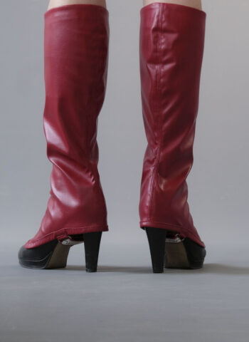 fake leather gaiters red